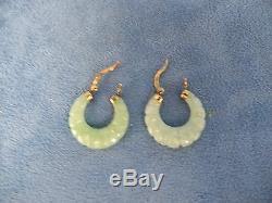 Paire De Boucles D'oreilles Vintage En Jade Avec Crochets En Argent Sterling A925 En Argent Pur Délavé