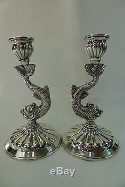 Paire De Bougeoirs En Forme De Poisson Très Détaillés En Argent Antique / Vintage