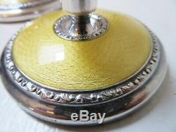Paire De Bougeoirs Guilloche Jaune Vintage Sterling Solvvareindustri Norway