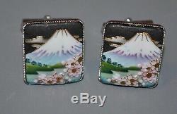 Paire De Boutons De Manchette Vintage En Argent Toshikane En Porcelaine Mont Fuji Fleurs Japon