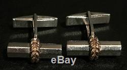 Paire De Boutons De Manchette Vintage En Or 18 Ct Et Argent Sterling Tiffany & Co French Laurel