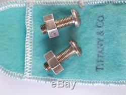 Paire De Boutons De Manchette Vintage Pair Tiffany & Co En Argent Sterling Avec Écrou Et Boulon
