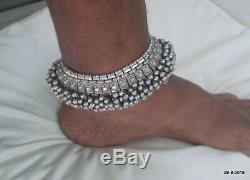 Paire De Bracelet De Cheville Vintage En Argent Ancien Antique Tribal Chaîne De Cheville De Bracelet