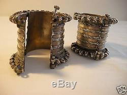 Paire De Bracelets Anciens En Argent, Inde Tribale, Rajasthan, Gujrat, Bracelets Vintage
