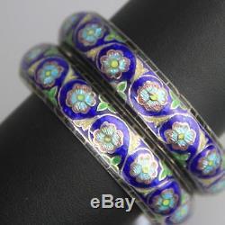 Paire De Bracelets Bracelets Export Cloisonnés Vintage Chinois Argent X 2 Cloisonnés