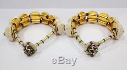 Paire De Bracelets Jonc Ou Perle En Argent Sterling 925 Vintage Et Argent Doré