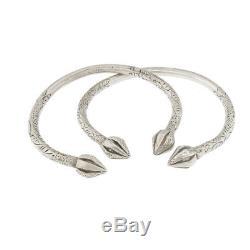 Paire De Bracelets Manchette En Argent Sterling Ciselés À La Main Tribaux Vintage En Argent Sterling 135g