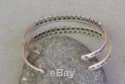 Paire De Bracelets Manchette En Perles De Rocailles Vintage Argentées Du Sud-ouest De Fred Harvey