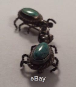 Paire De Broche De Punaise D'épingle D'inspiration Vintage Navajo En Argent Sterling À Motif Turquoise