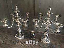 Paire De Candélabres À 5 Lampes Argentées, Chandeliers Sheffield D'époque