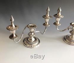 Paire De Candélabres Sheffield Vintage À 3 Lumières, Angleterre