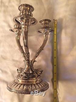 Paire De Candélabres Vintage En Argent Massif Avec Dauphins De Style Renaissance