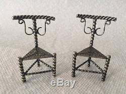 Paire De Chaises Miniatures Antique En Argent, Pays-bas