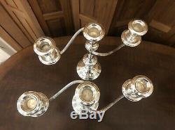 Paire De Chandeliers Chandeliers Pondérés En Argent Sterling À Trois Lampes Vtg Gorham 808/1