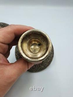 Paire De Chandeliers D'argent Massif Islamique Persan Vintage
