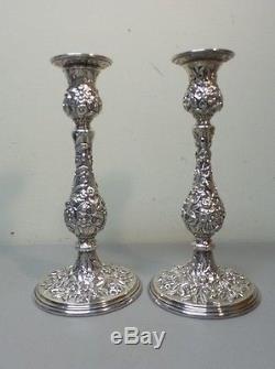 Paire De Chandeliers En Argent 9.75 Kirk Repousse Vintage Argent, 850 Grammes