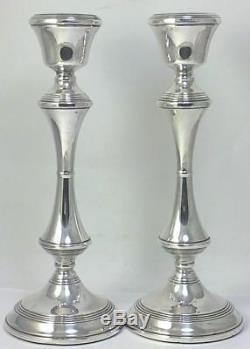 Paire De Chandeliers Vintage En Argent Sterling Poinçonné 8 (20 Cm), 1970