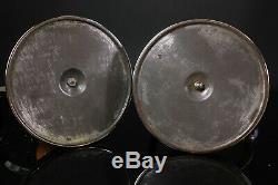Paire De Chandeliers Vintage En Métal Argenté De Style Art Déco