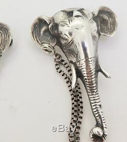Paire De Clips / Broches Vintage En Argent Massif Pour Éléphant 40,2 Grammes