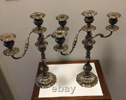 Paire De Crescent Vintage Silver Company Candélabres