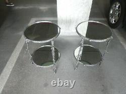 Paire De Cru De Deux Tables Rondes Rondes De Branche D'arbre D'aluminium De Niveau