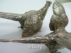 Paire De Faisans Vintage En Argent Sterling 925 D'époque, Marqués Allemand