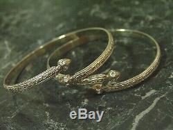 Paire De Fantaisie Jamaïque Antilles Jambes Bracelet Manchette En Argent Sterling Vtg Unisex