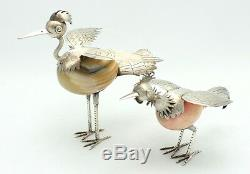 Paire De Figurines D'oiseaux Vintage En Argent Sterling 925 De Taxco Mexico