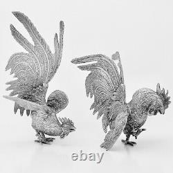 Paire De Figurines De Cockerel Rooster De Plaque D'argent Vintage Antique Ornement