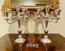 Paire De Fisher En Argent Sterling 5 Light Candélabres! Vintage Antique! Magnifique