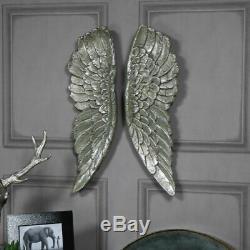 Paire De Grandes Ailes D'ange En Argent Doré Art Mural Style Vintage Accessoire Cadeau Maison