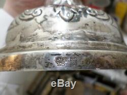 Paire De Grands Chandeliers Vintage En Argent Sterling, Judaica Sabbath 925-1000