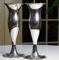Paire De Grands Vases D'autel En Métal Argenté Antique, Église Catholique, Argenté Vintage Ihs
