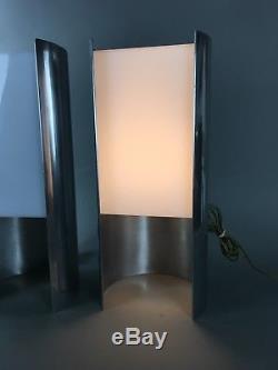 Paire De Lampes De Table Modernes, Habitat, Siècle, Paul Mayen En Aluminium Habitat