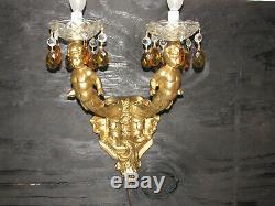 Paire De Lampes Murales Vintage, Candélabres Anges Chérubins, Prismes En Cristal