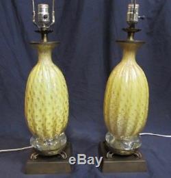 Paire De Lampes Vintage En Verre Barovier & Toso, Aventurine Des Années 50 En Aluminium Et Argent