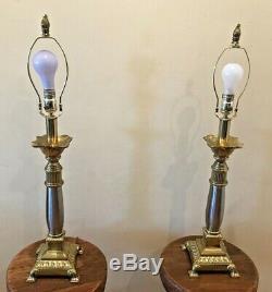 Paire De Lampes Vtg Paire De Lampes Stiffel En Laiton Et En Argent Poli Avec Abat-jour En Similicuir Noir