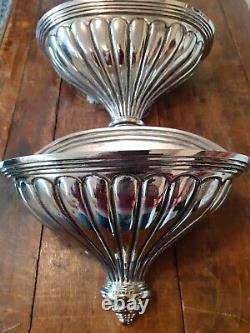 Paire De Lumières Murales Benci Vintage Silver Plate Art Déco