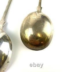 Paire De Millésime De Soupe En Argent Massif Type Spoons Mappin & Webb 19cm 149g