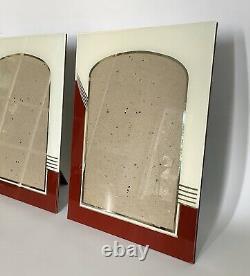Paire De Millésimes Années 1930 Art Déco Inversé Peinture & Argent Cadre Photo En Verre