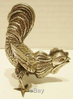 Paire De Miniature Vintage En Argent Sterling Coq Tableau Ornements