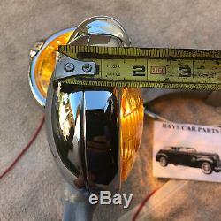 Paire De Petits Feux De Brouillard De Style Vintage De 6 Volts Couleur Ambre Avec Capuchon De Brouillard @ Supports Gris