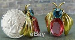 Paire De Pinces À Fourrure D'insectes En Argent Sterling Des Années 1950, Bleu Et Rose