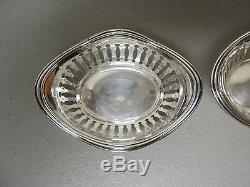Paire De Plats De Noix Vintage En Argent Sterling, Décoration Percée / Réticulée