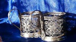 Paire De Porte-gobelets Ornés De Fleurs En Bronze Filigrané Et Doré