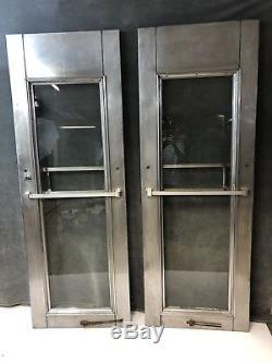 Paire De Portes Industrielles D'époque Extérieur Diner-loft En Acier Inoxydable Avant 40s 50s