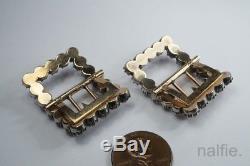 Paire De Qualité De Boucles De Chaussures De Pâte Antilles Argent & Or Ancien Anglais C1820