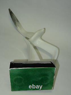 Paire De Sculpture En Mouette En Céramique Vintage Modernist 60's Sur Plinth Argenté 18