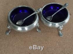 Paire De Sel Vintage En Argent Sterling Avec Doublures Et Cuillères En Verre Bleu Cobalt