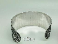 Paire De Silver Vintage Sterling Du Moyen-orient Tribal Large Bangle Bracelets Manchette